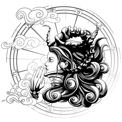 Caricature goddess of prayer vector