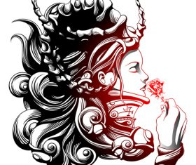 Caricature goddess silhouette vector