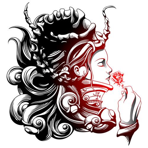 Caricature goddess silhouette vector