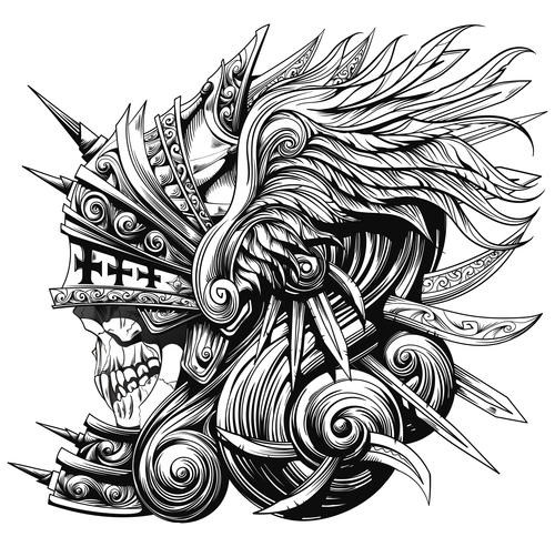 Caricature undead warrior vector