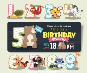 Cartoon animal and number vector