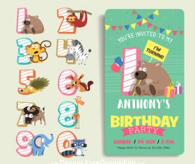 Cartoon animal digital label and birthday card vector