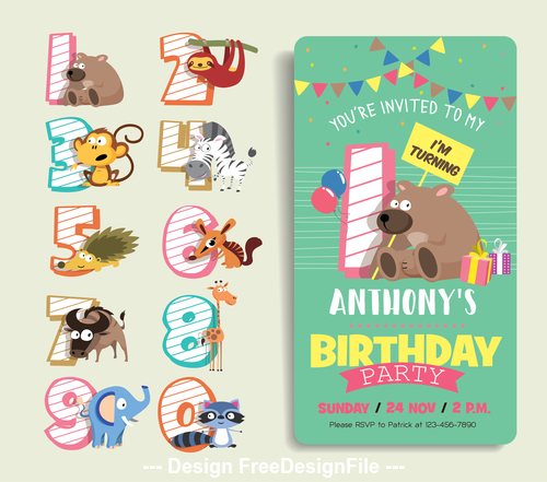 Cartoon animal digital label and birthday card vector