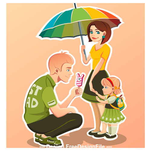 Cartoon buy ice cream for kids illustration vector