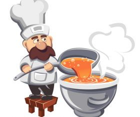 Cartoon chef making soup illustration vector
