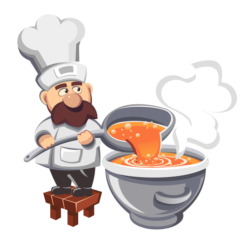 Cartoon chef making soup illustration vector