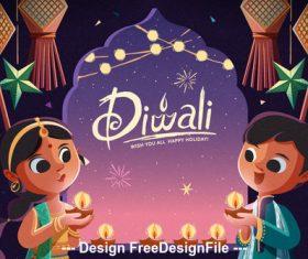 Cartoon children over diwali vector