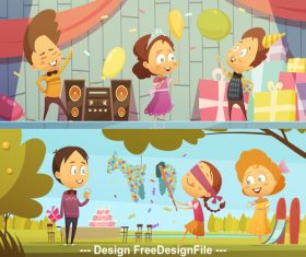 Cartoon children party vector