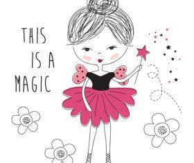 Cartoon cute magic girl vector