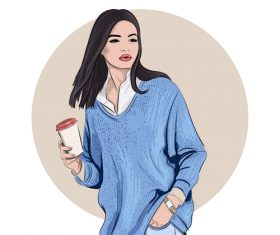 Cartoon girl holding coffee vector