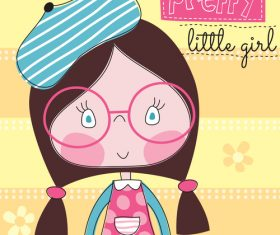 Cartoon girl with glasses vector