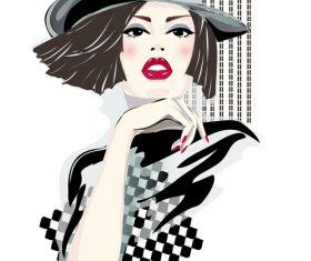 Cartoon girls portrait illustration vector