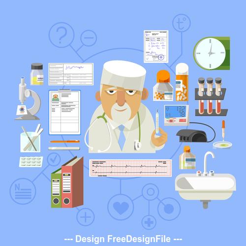 Cartoon hospital equipment illustration vector