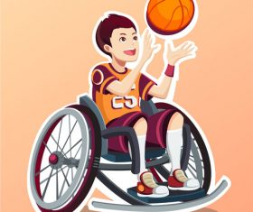 Cartoon people playing basketball Illustration vector