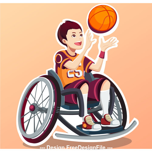 Cartoon people playing basketball Illustration vector