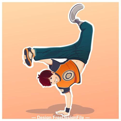 Cartoon people street dance Illustration vector