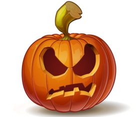 Cartoon pumpkins angry expression vector