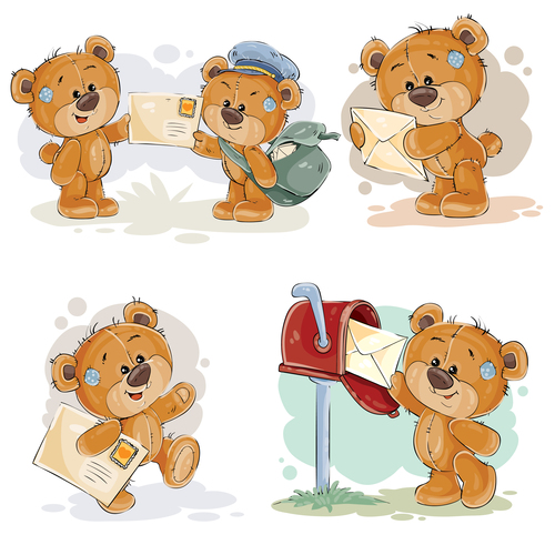 Cartoon teddy bear postman vector