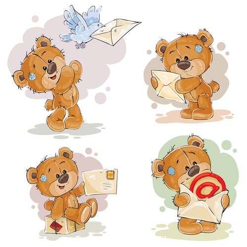 Cartoon teddy bearand letter vector