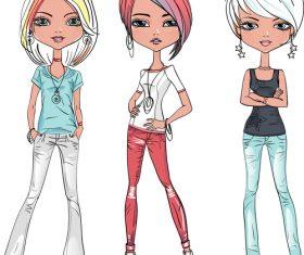 Cartoon three girls vector