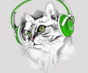 Cat Headphones vector