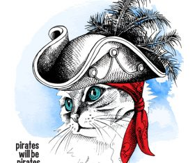 Cat Pirate portrait vector