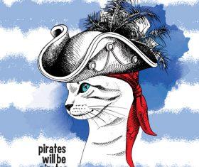 Cat Pirate vector