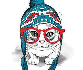 Cat alpaca chullo long knit hat glasses vector