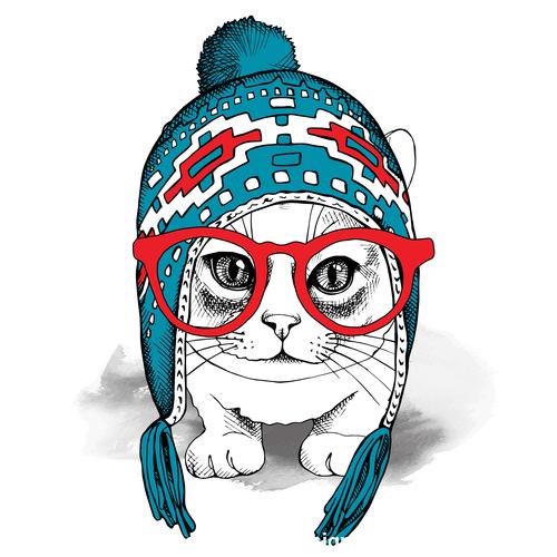 Cat alpaca chullo long knit hat glasses vector
