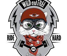 Cat biker helmet emblem wild vector