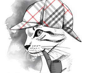 Cat deerstalker vector