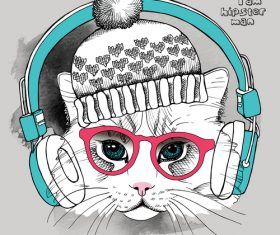 Cat glasses hat hipster headphones eyes vector