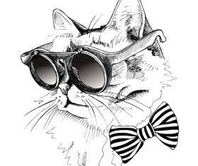 Cat glasses hippy vector