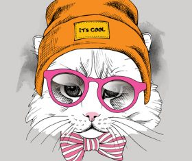Cat glasses hipster hat vector