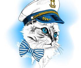 Cat sailor vector