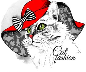 Cat womens hat red vector