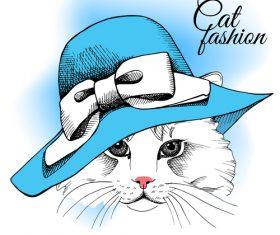 Cat womens hat summer vector