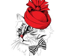 Cat womens hat vector