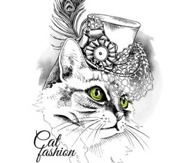 Cat womens hat with net vector