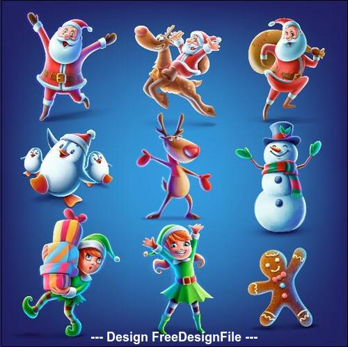 Christmas Cartoon Images.Christmas Cartoon Character Vector Free Download