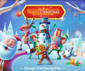 Christmas cartoon element vector