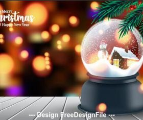 Christmas crystal ball and abstract background vector