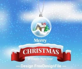 Christmas crystal ball pendant and banner vector