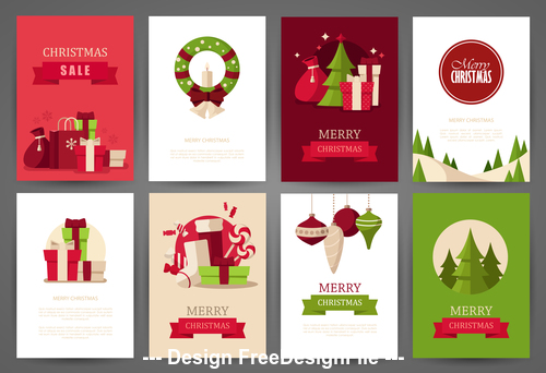 Christmas gift card brochure vector