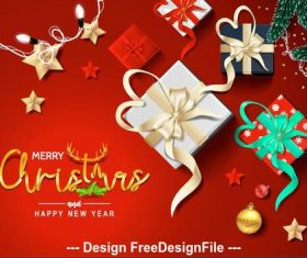 Christmas lantern gift box card vector