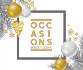 Christmas pendant pine branch decoration card vector