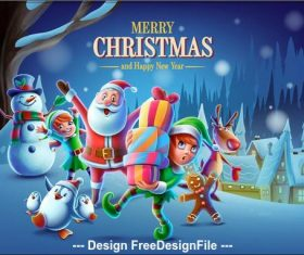 Christmas santa with gifts and little assistants vector