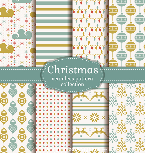 Christmas seamless patterns set vector 01
