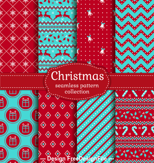 Christmas seamless patterns set vector 02