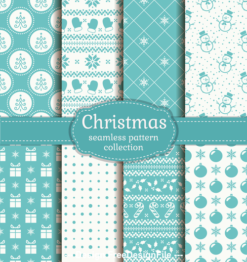 Christmas seamless patterns set vector 03